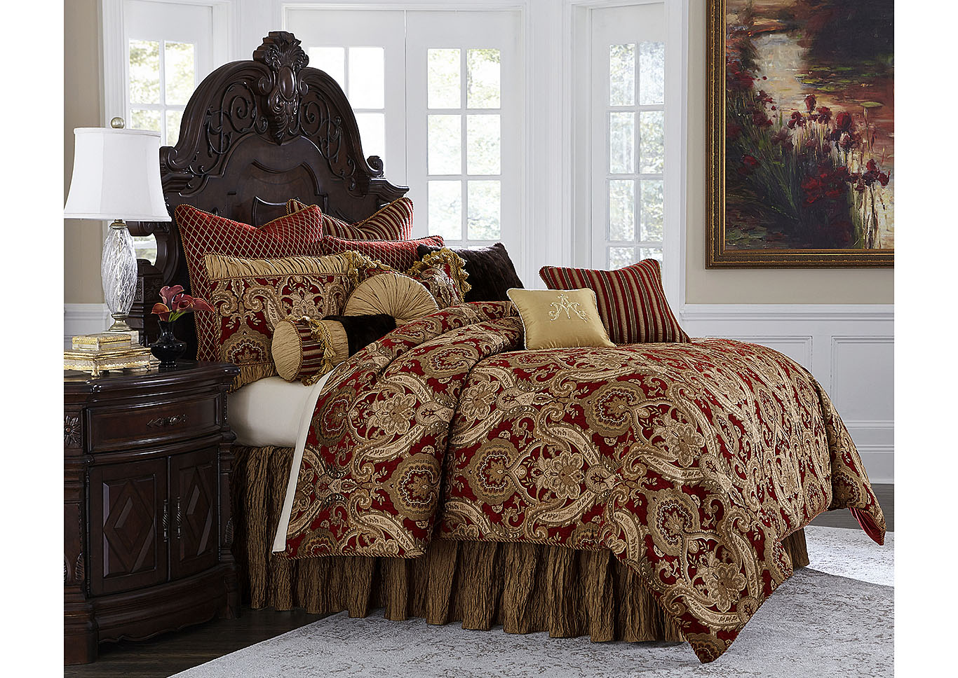 Lafayette Red Gold 12 Pc Queen Comforter Set El Encanto Furniture By Yulissa