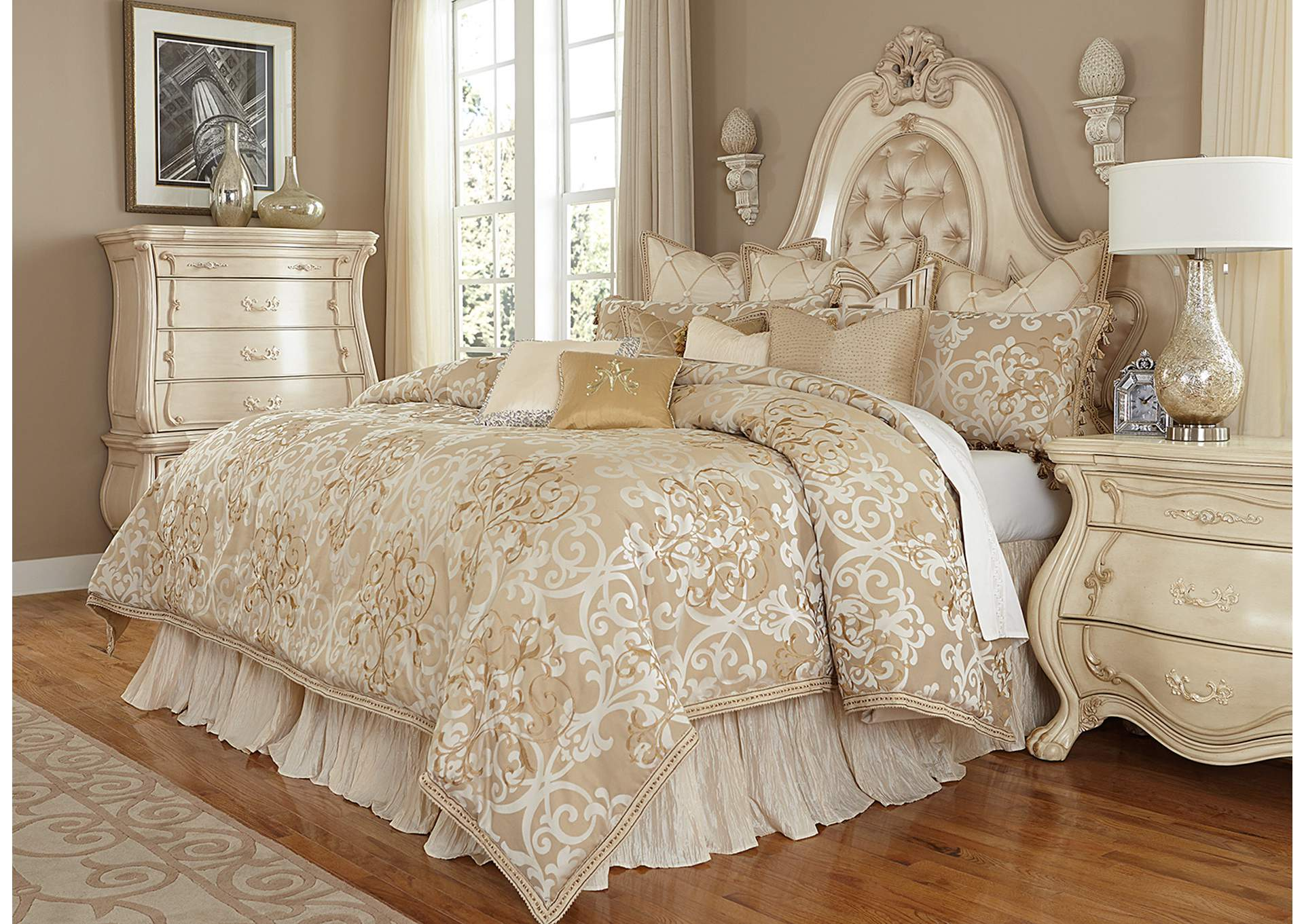 Luxembourg Cream 12 pc. Queen Comforter Set,AICO