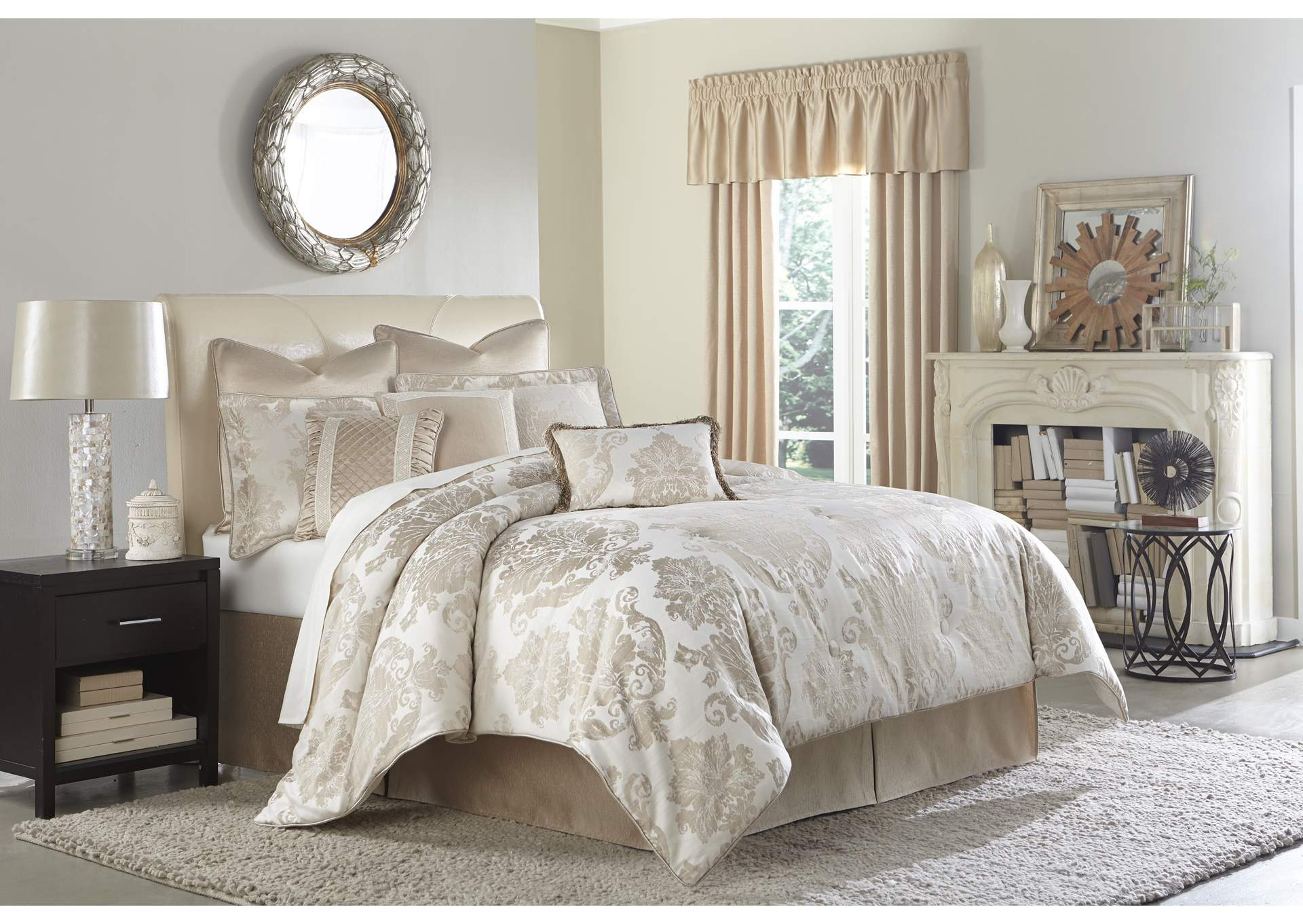 Marbella Silver 9 pc. Queen Comforter Set,AICO