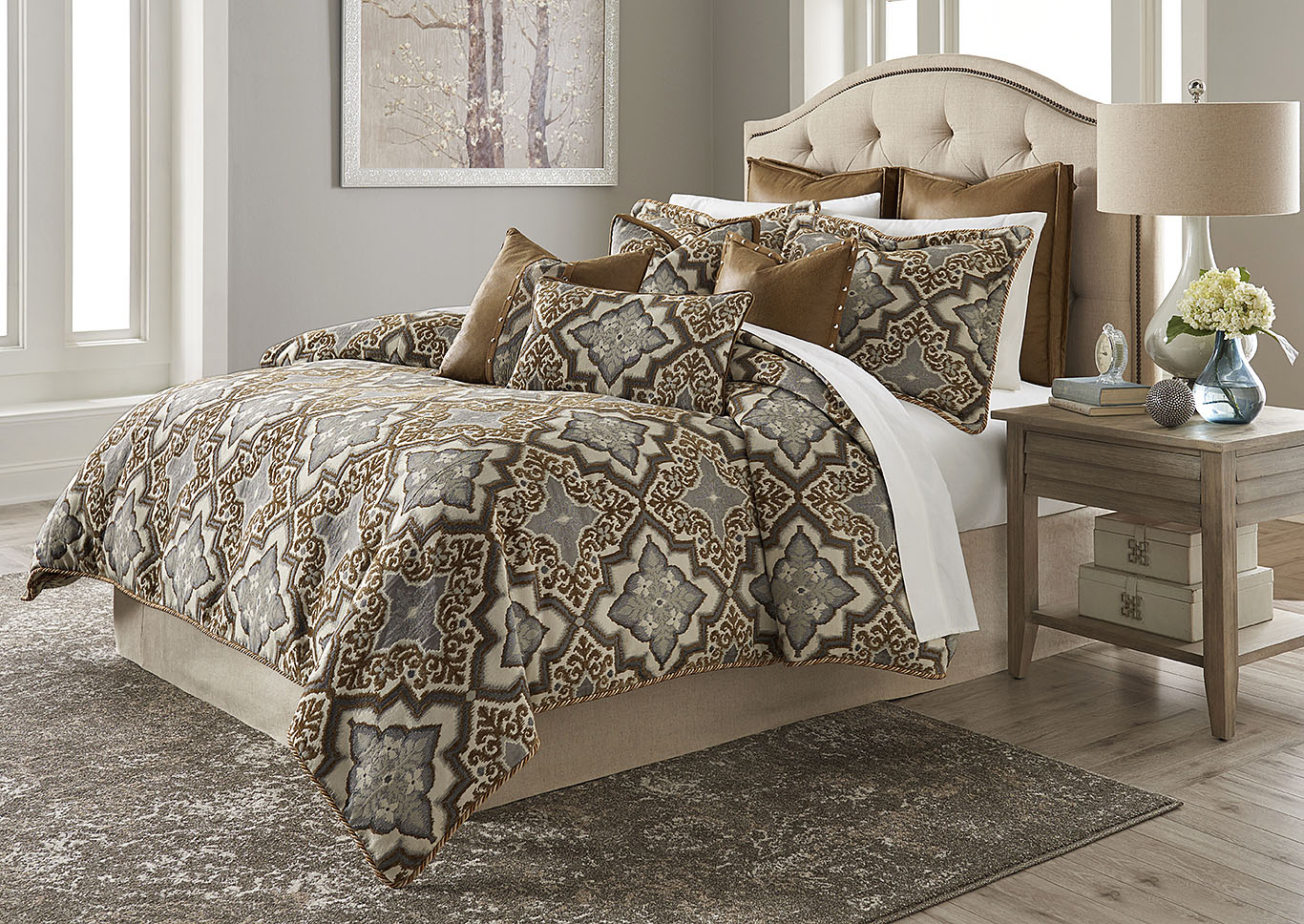 Porter Saddle 9 pc. Queen Comforter Set,AICO