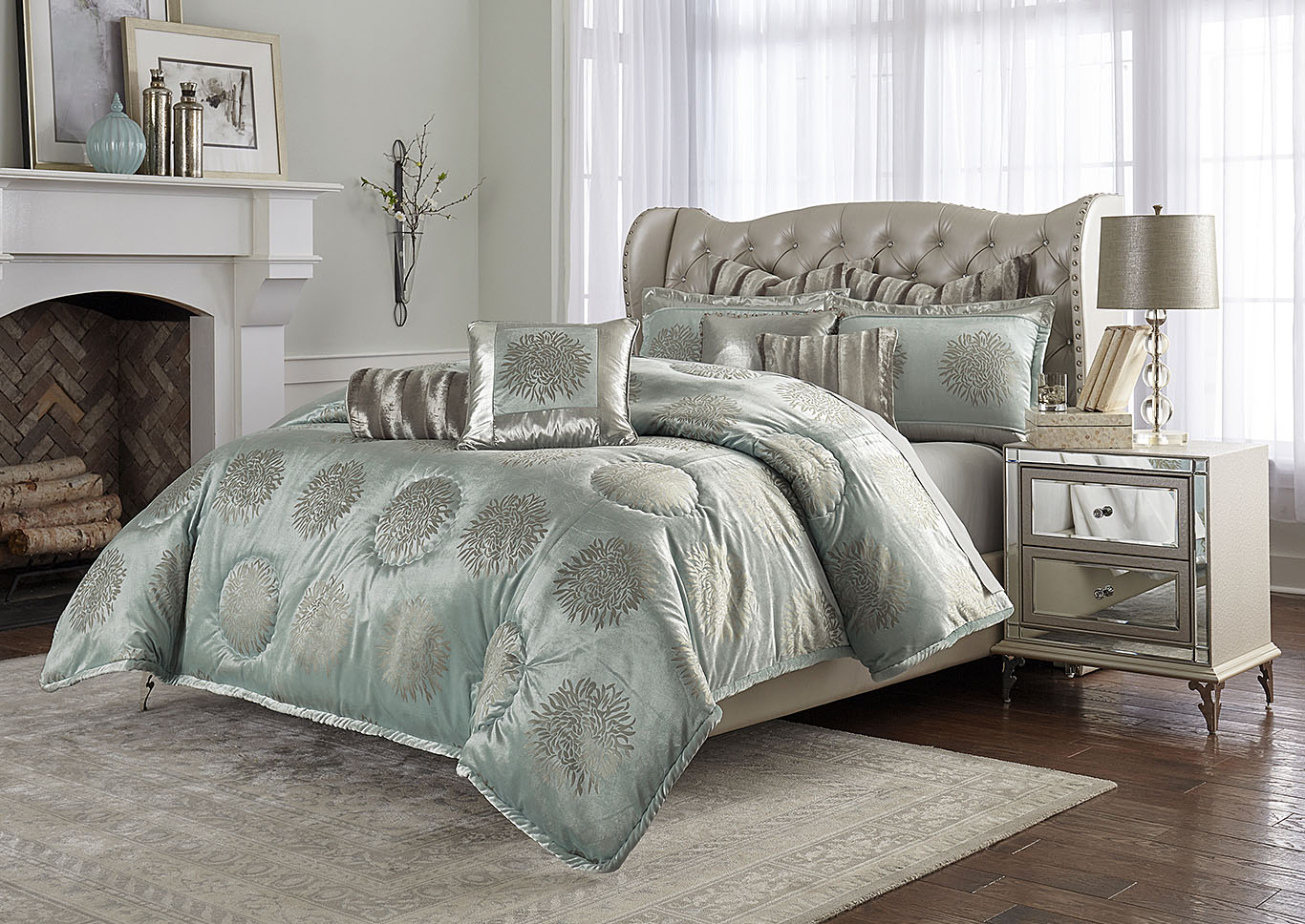 Regent Aqua  9 pc. Queen Comforter Set,AICO