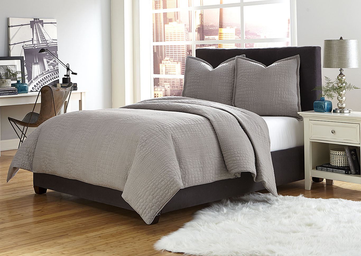 Trent 3 Piece Gray King Coverlet Set,AICO