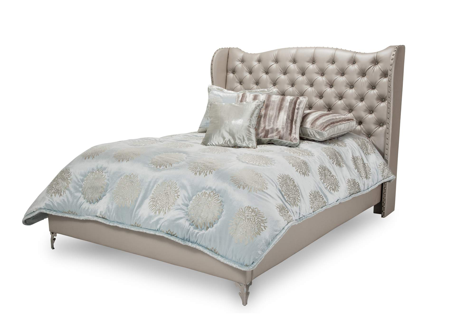 Hollywood Loft Pearl Queen Upholstered Platform Bed,AICO