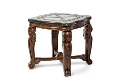 Image for Tuscano Melange Marble Top Square End Table W/ Glass Inlay