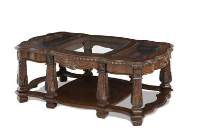 Image for Windsor Court Vintage Fruitwood Rectangular Cocktail Table W/ Glass Inlay