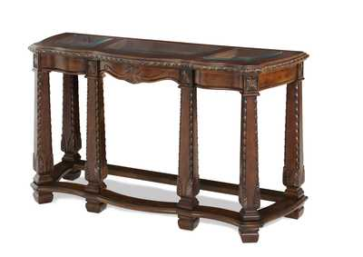 Image for Windsor Court Vintage Fruitwood Sofa Table W/ Glass Inlay