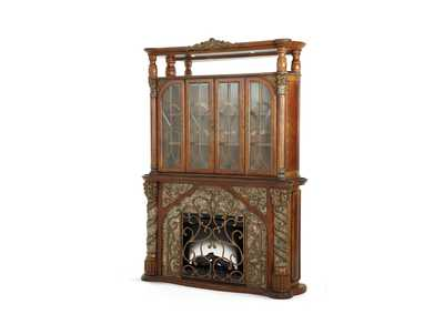 Image for Villa Valencia Classic Chestnut Fireplace w/Lighted Display Cabinet (3 Pc)