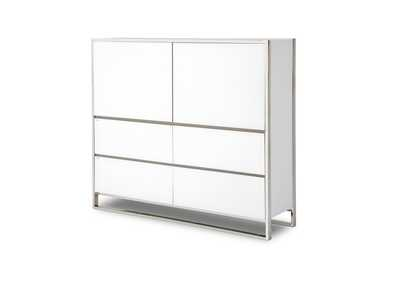 State St. Glossy White Metal Storage Cabinet