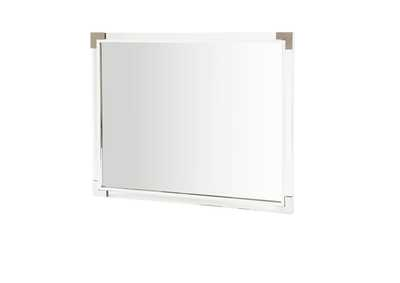 State St. Glossy White Metal Wall Mirror