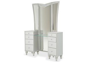 Image for Melrose Plaza Dove Upholstered Vanity & Mirror