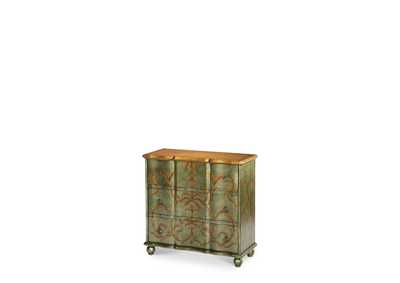 Discoveries Silver Green Storage Chest W/Leaf