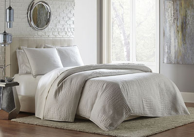 Brilliance White 3 pc. Queen Coverlet/Duvet,AICO