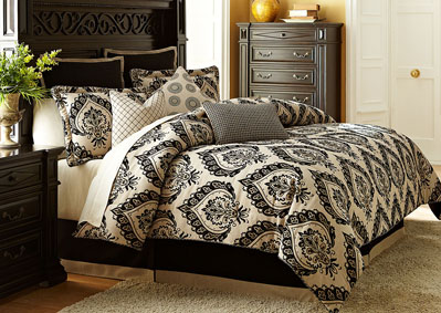 Equinox White & Black 9 pc. Queen Comforter Set