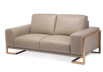"Image for Gianna""Leather LoveSeat in Lt.Coffee""RoseGold"