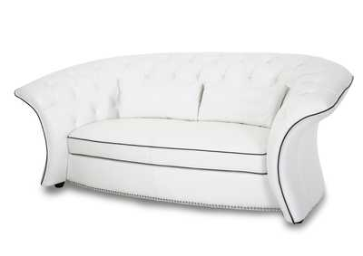 "Image for Molisa ""Leather Flare Arm Loveseat in White"""