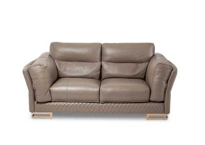 "Image for Monica""Leather LoveSeat in Taupe""RoseGold"