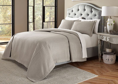 Port Orleans Grey 3 pc. Queen Bed Throw Set