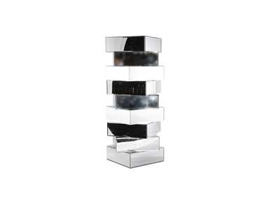 Montreal White & Black Mirrored Tall Stacking Blocks End Table,AICO