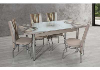 Image for T-0002 Beige 5 Piece Dining Set w/ 4 Chairs