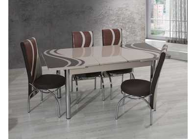 Image for T-0022 Biege 5 Piece Dining Set w/ 4 Chairs