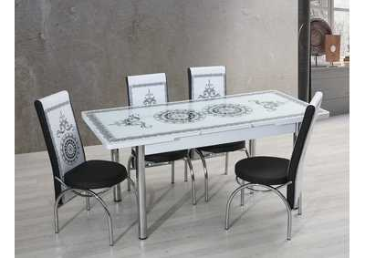 Image for T-0037 White/Black 5 Piece Dining Set w/ 4 Chairs