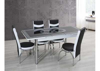 Image for T-0123 Black/White 5 Piece Dining Set w/ 4 Chairs