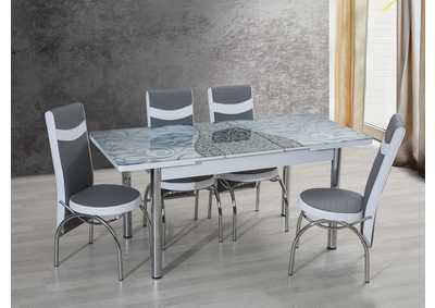 Image for T-0187 Gray/White 5 Piece Dining Set w/ 4 Chairs