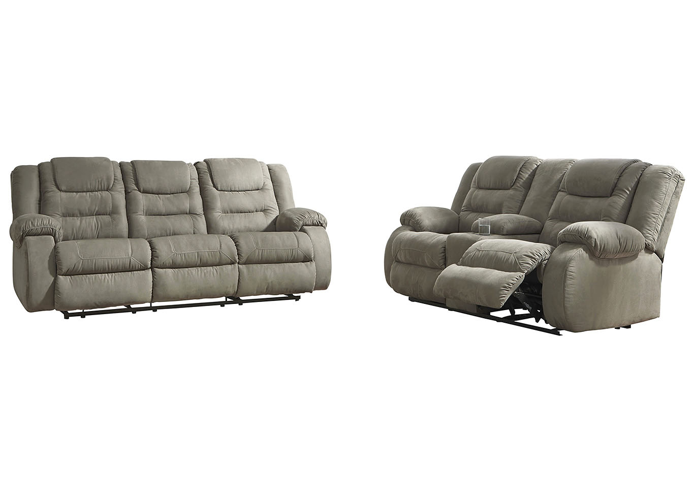 McCade Cobblestone Reclining Sofa & Loveseat w/Console,Signature Design By Ashley
