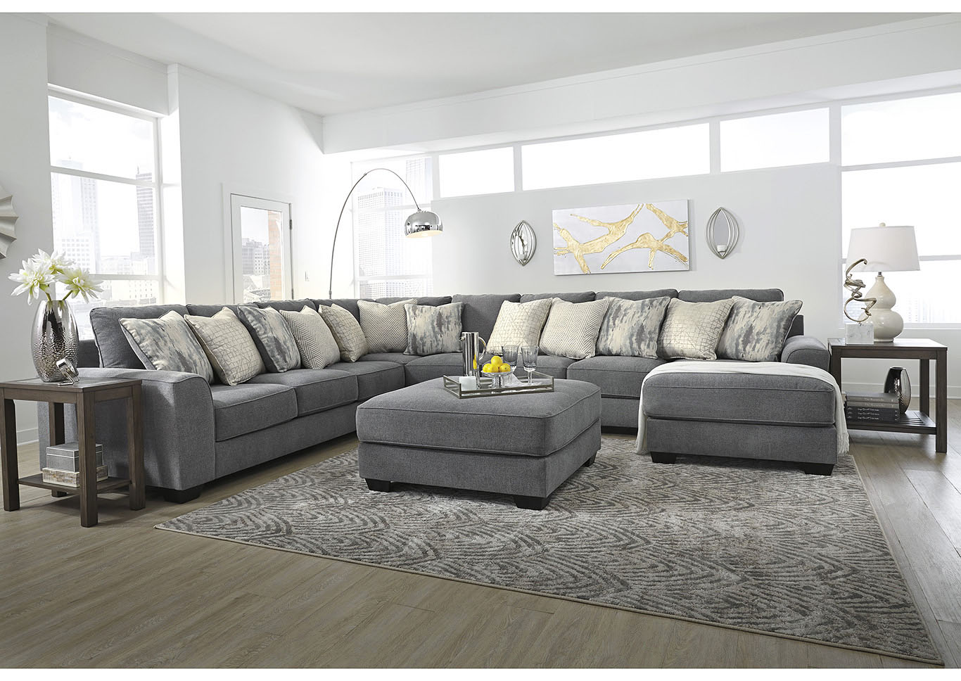 Castano Jewel 5 Piece Raf Chaise Sectional Adams Home Furnishings
