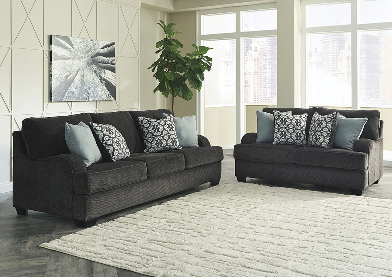 Charenton Charcoal Sofa & Loveseat,Benchcraft