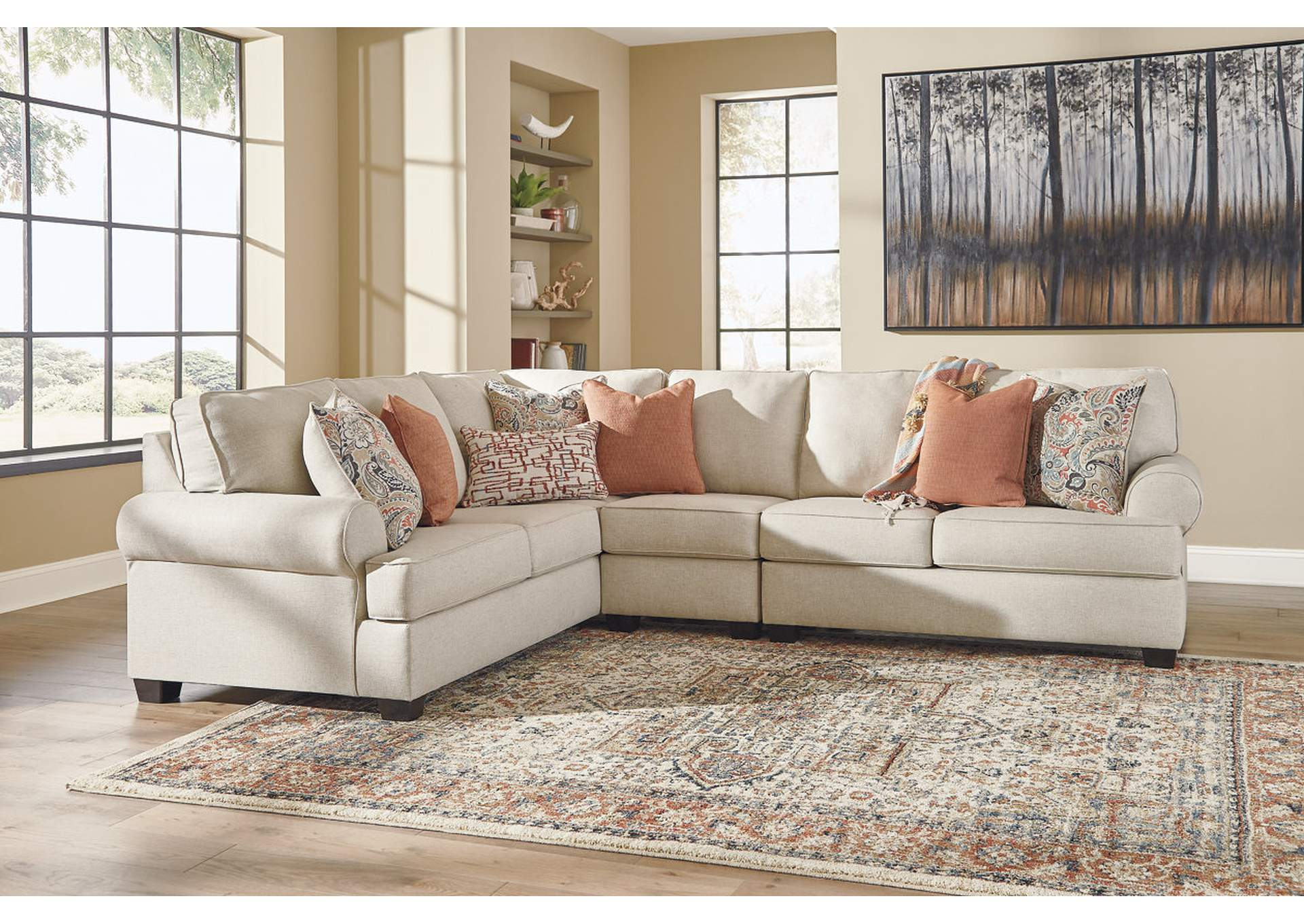 Amici Linen Left-Arm Facing Sectional Gibson Furniture - Gallatin