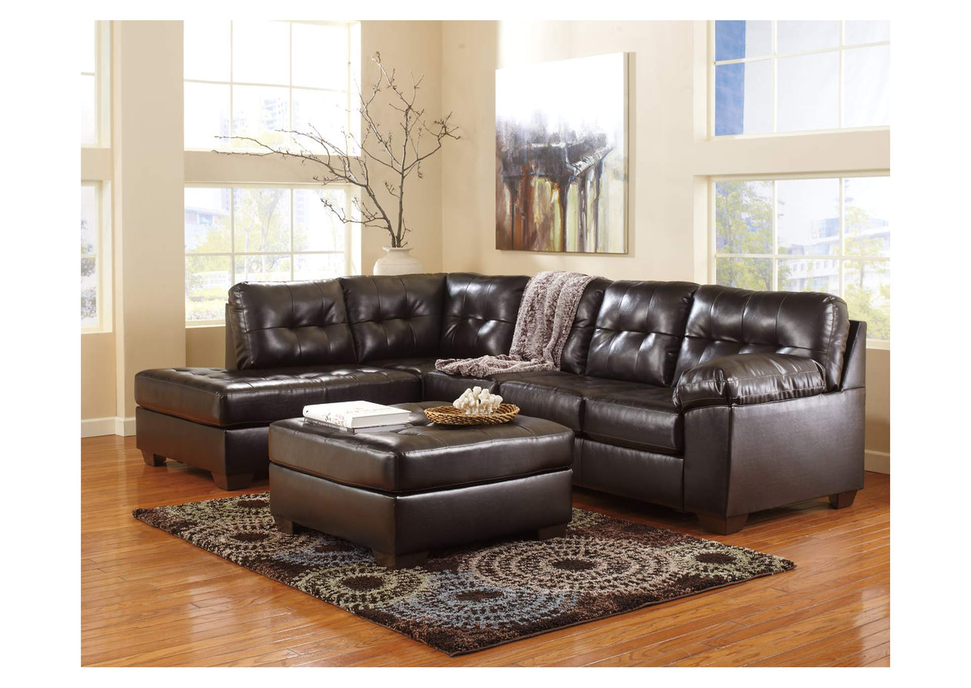 Alliston DuraBlend Chocolate LAF Chaise End Sectional & Oversized Accent Ottoman,Signature Design By Ashley