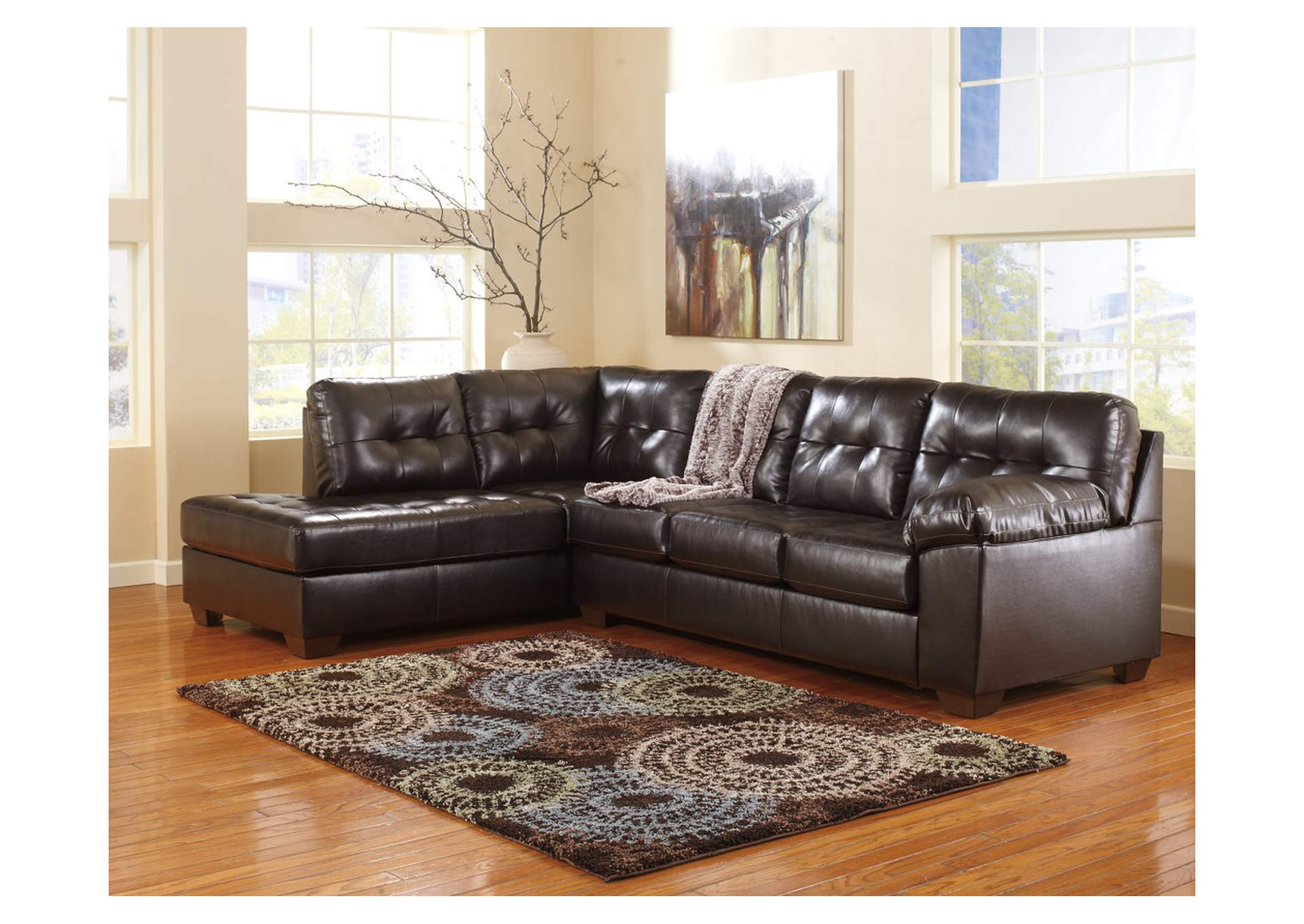 Alliston DuraBlend Chocolate LAF Chaise End Sectional,Signature Design By Ashley