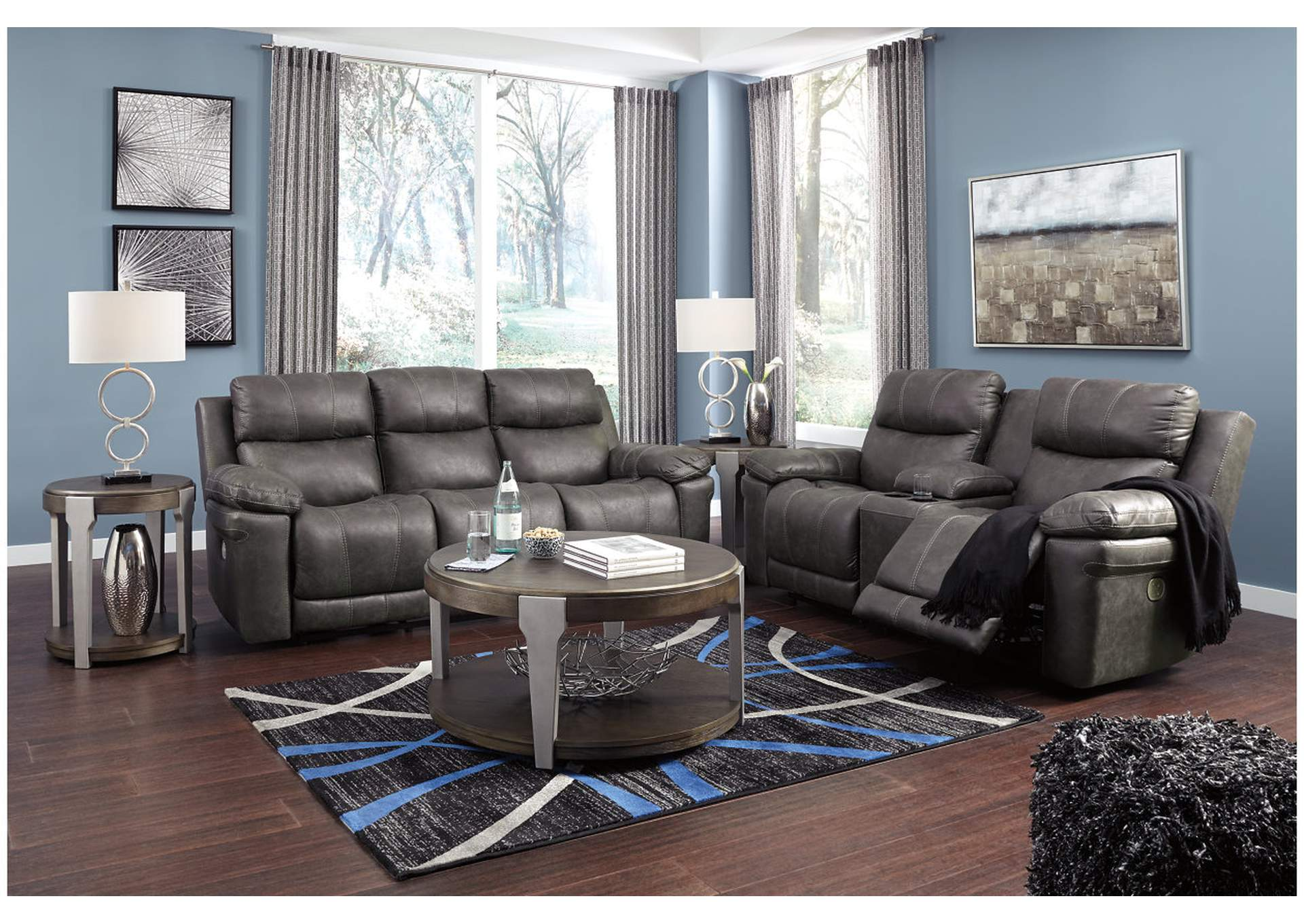 Erlangen Midnight Power Reclining Sofa & Loveseat w/Adjustable Headrest,Signature Design By Ashley