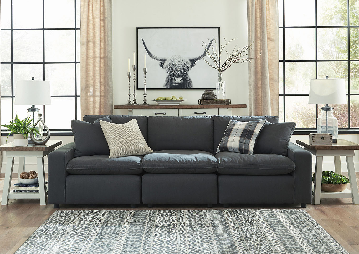 Savesto Charcoal 3 Piece Linear Sectional,Signature Design By Ashley