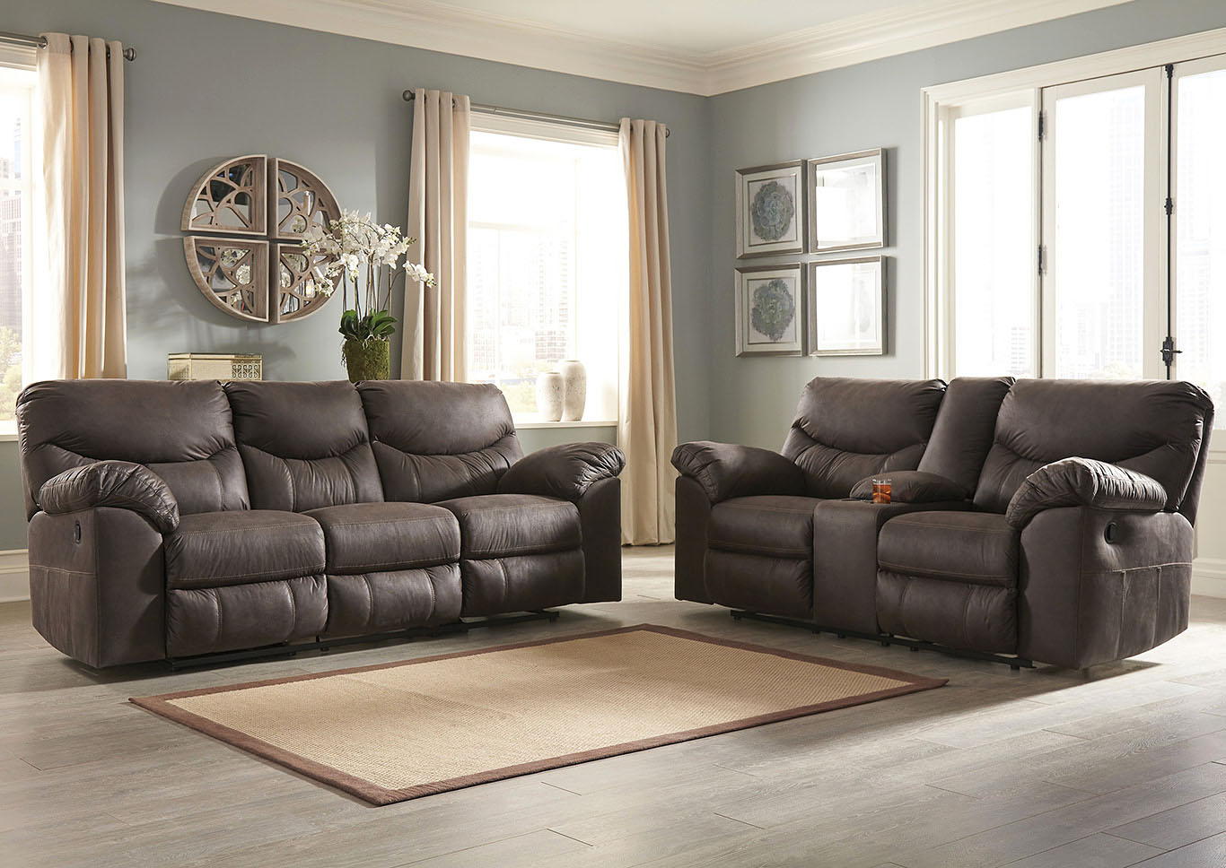 Boxberg Teak Reclining Sofa & Double Reclining Loveseat w/Console,Signature Design By Ashley