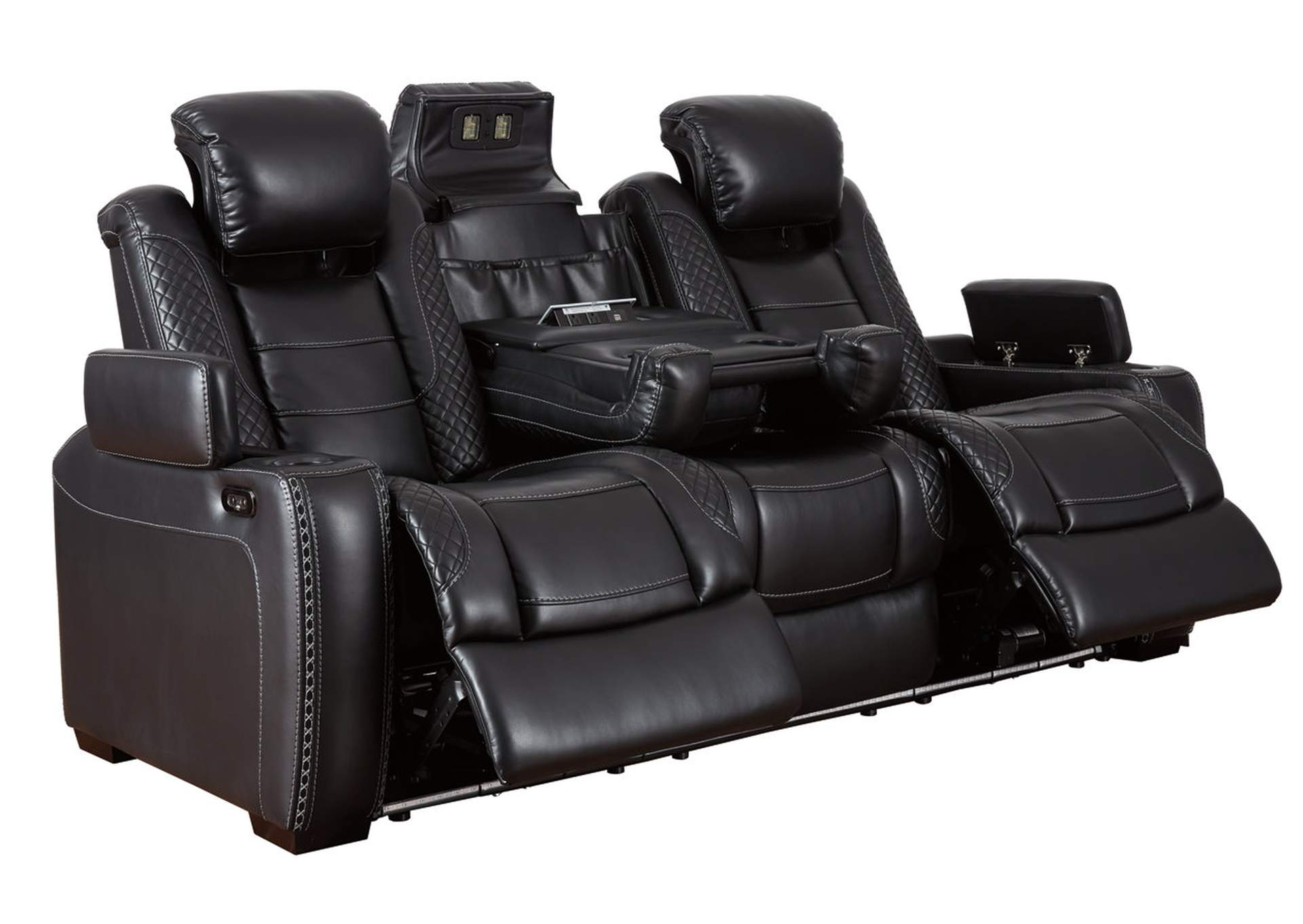 Party Time Midnight Power Reclining Sofa & Loveseat w/Adjustable Headrest,Signature Design By Ashley
