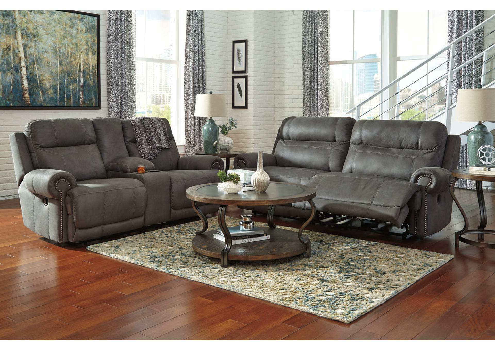 Austere Gray 11 Seat Reclining Sofa & Loveseat Ridge Home
