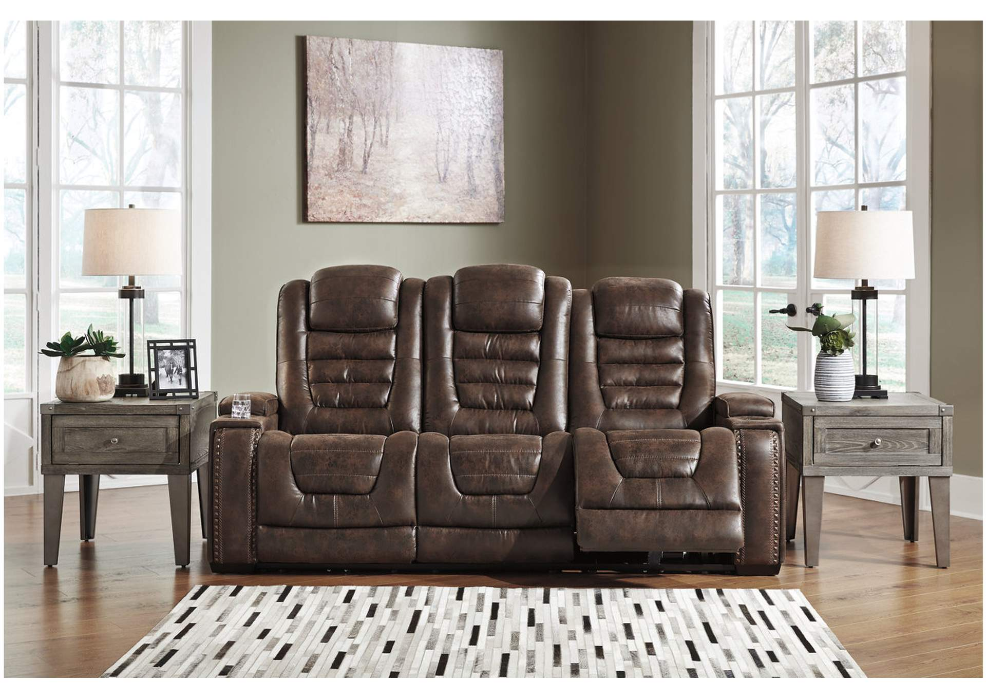Game Zone Power Reclining Sofa w/Adjustable Headrest,Signature Design By Ashley