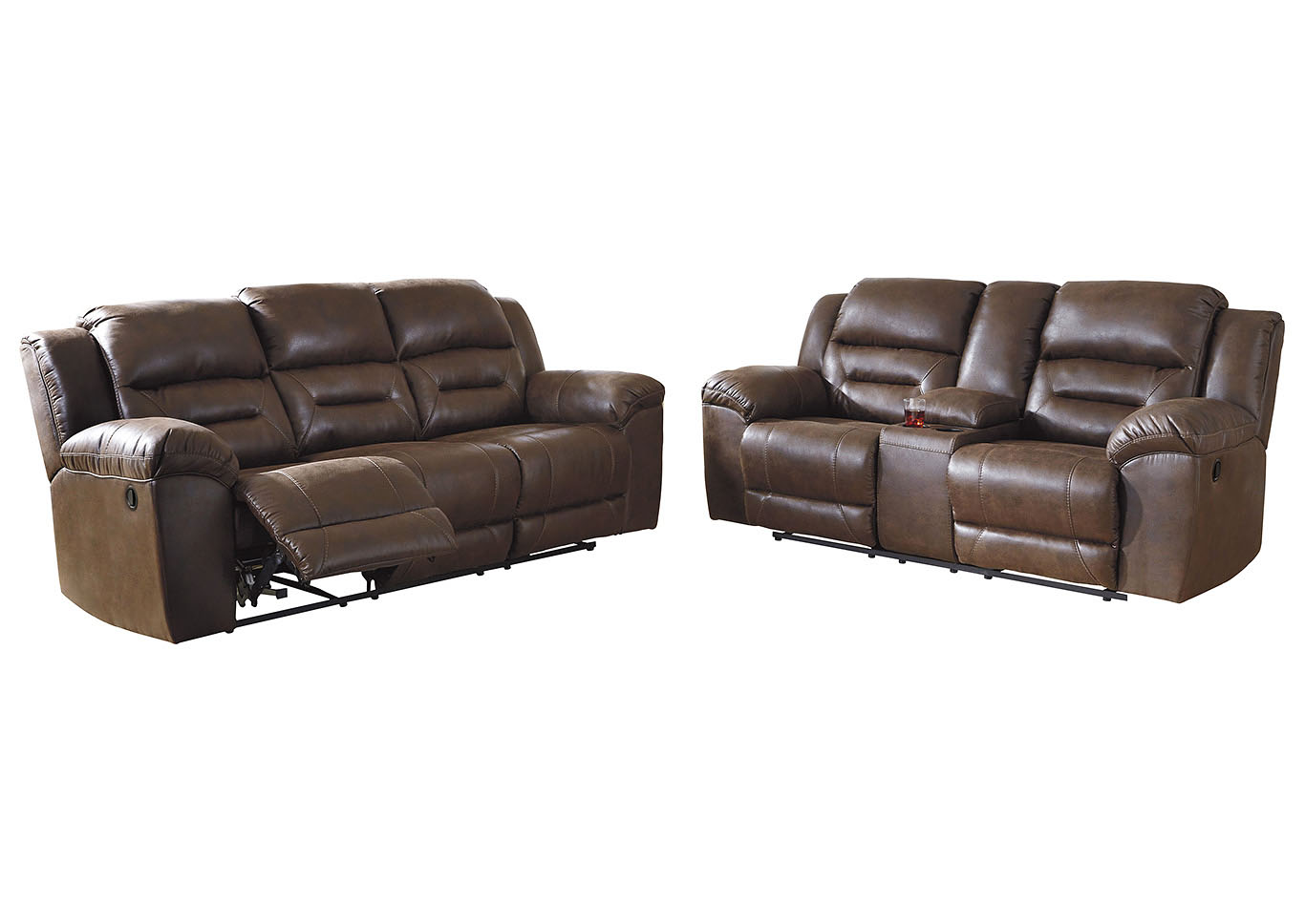 Stoneland Brown Reclining Sofa and Loveseat,Signature Design By Ashley