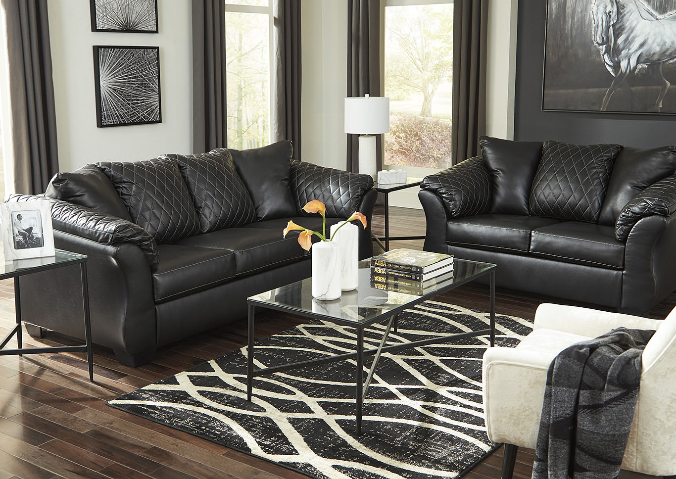 Bertrillo Black Sofa & Loveseat,Signature Design By Ashley