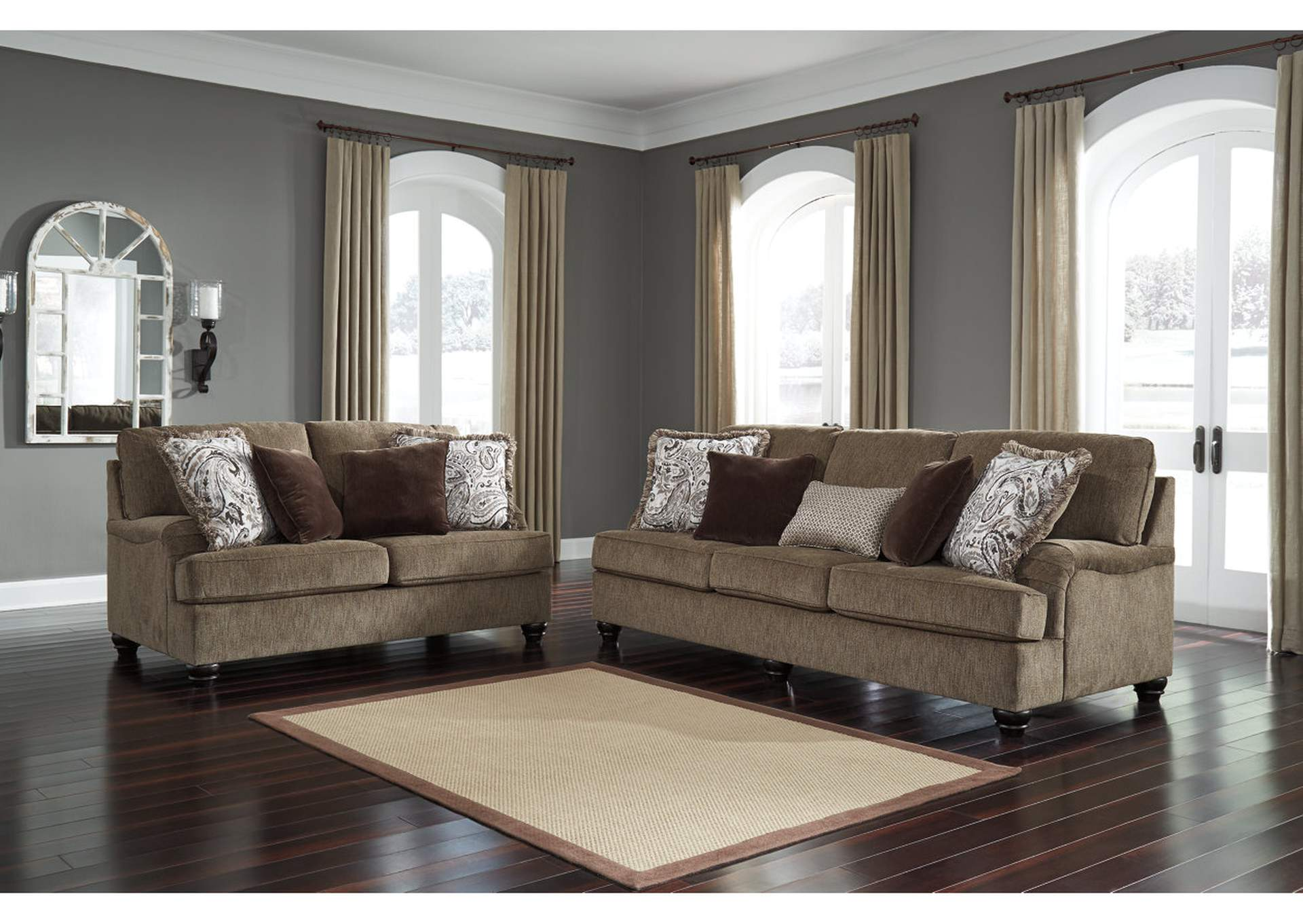 Braemar Brown Sofa & Loveseat w/8 Pillows,Signature Design By Ashley