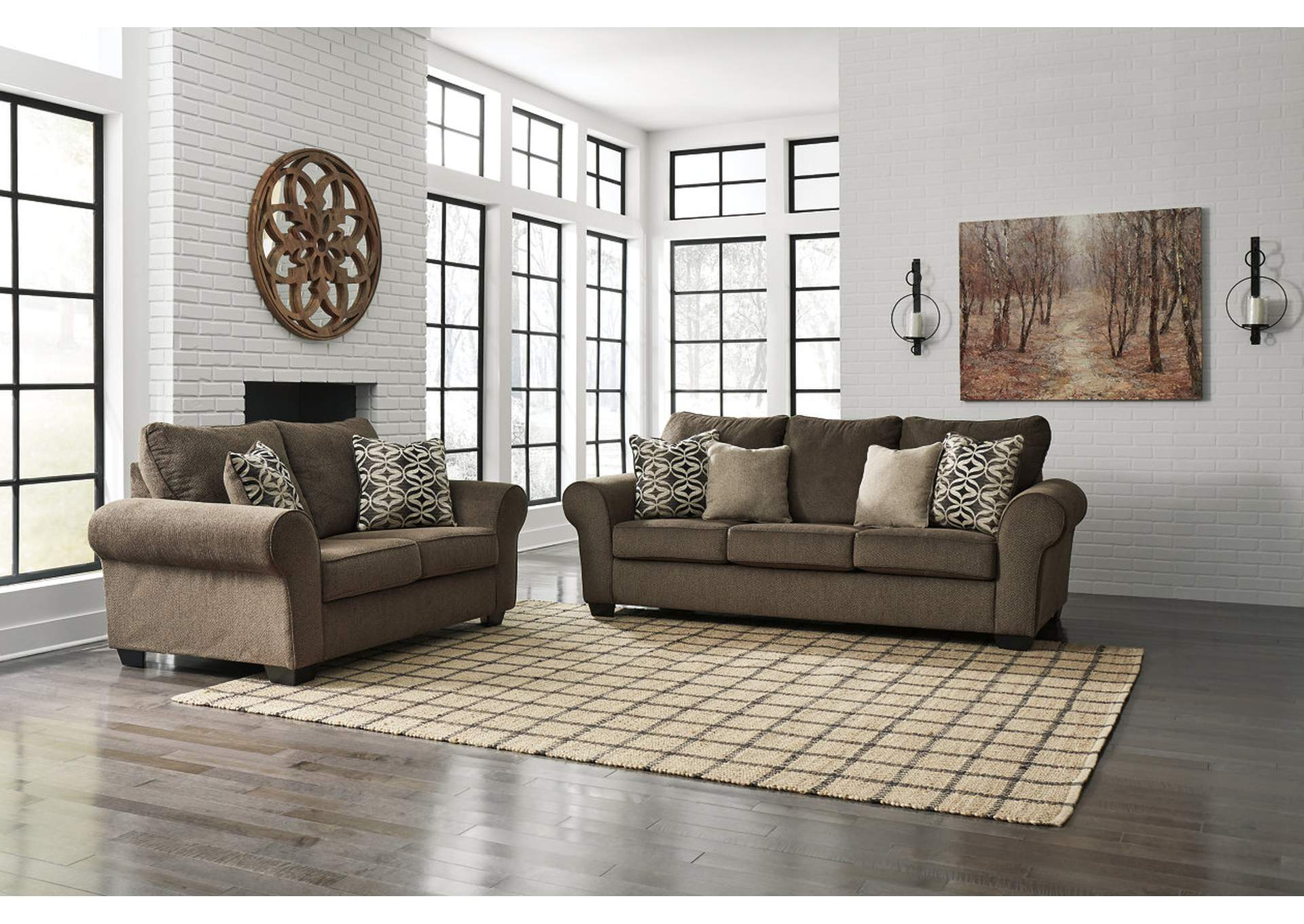 Nesso Walnut Sofa & Loveseat,Benchcraft