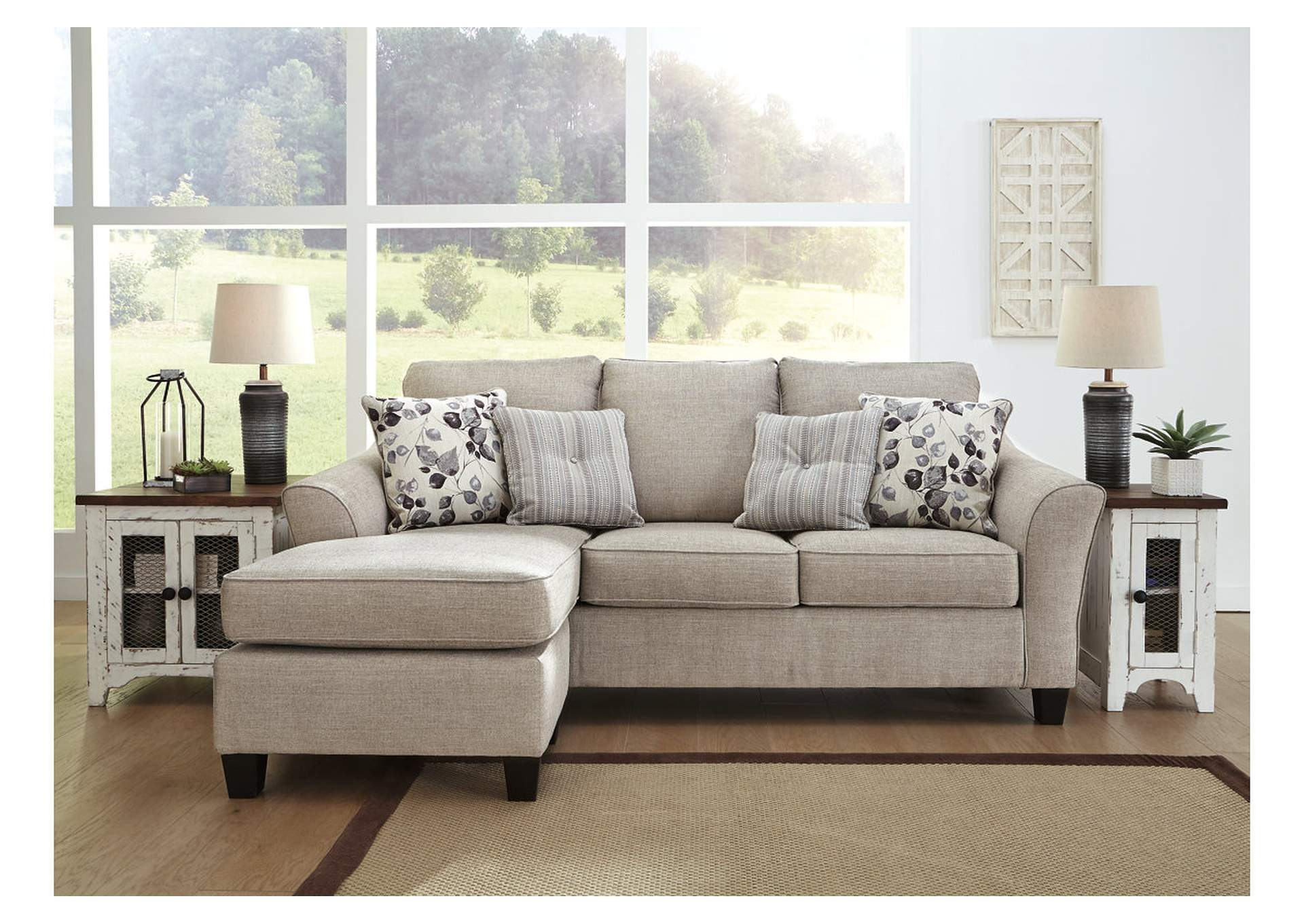 Abney Gray Sofa Chaise Sleeper,Benchcraft