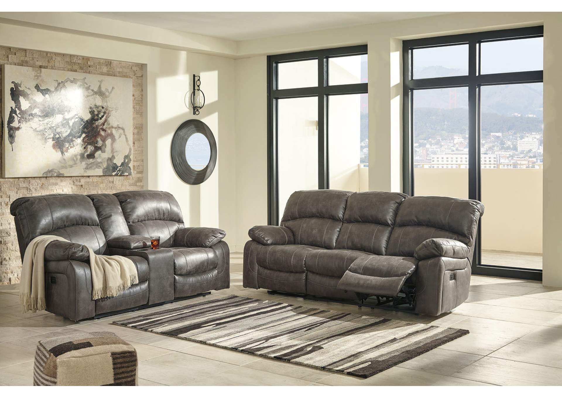 Dunwell Steel Power Reclining Sofa and Loveseat w/Adjustable Headrest,Signature Design By Ashley