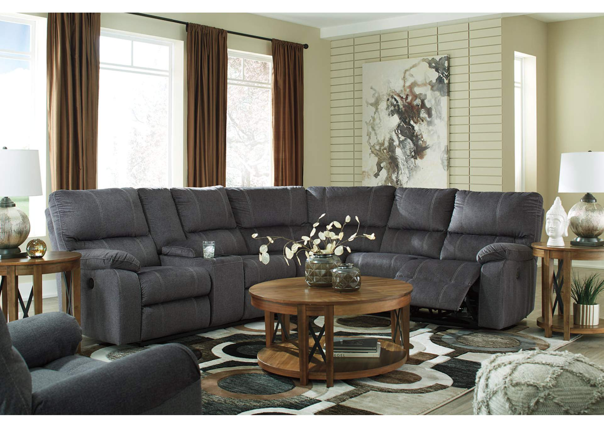 Urbino Charcoal Power Reclining Sectional w/Console,Signature Design By Ashley