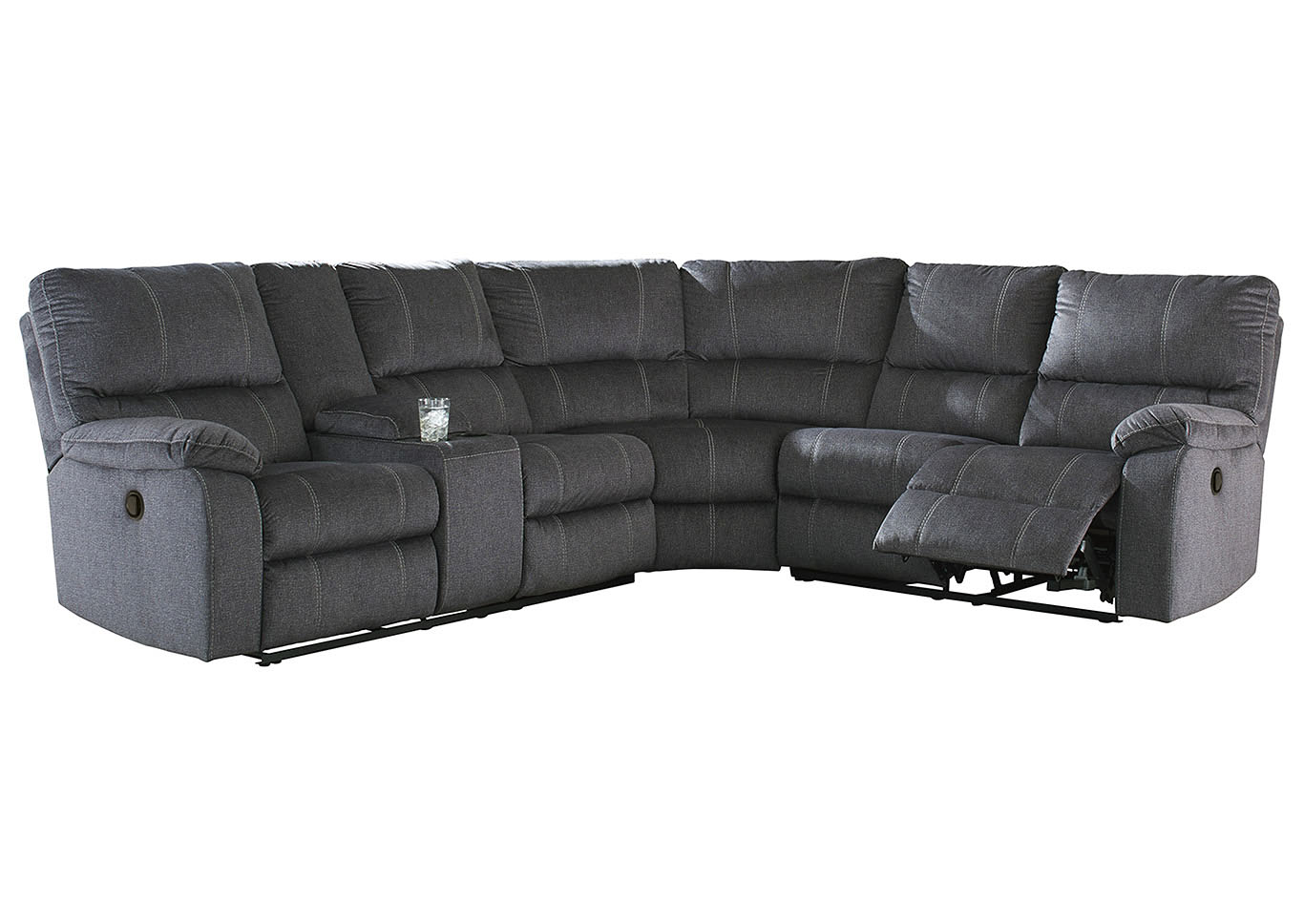 Urbino Charcoal Reclining Sectional w/Console,Signature Design By Ashley