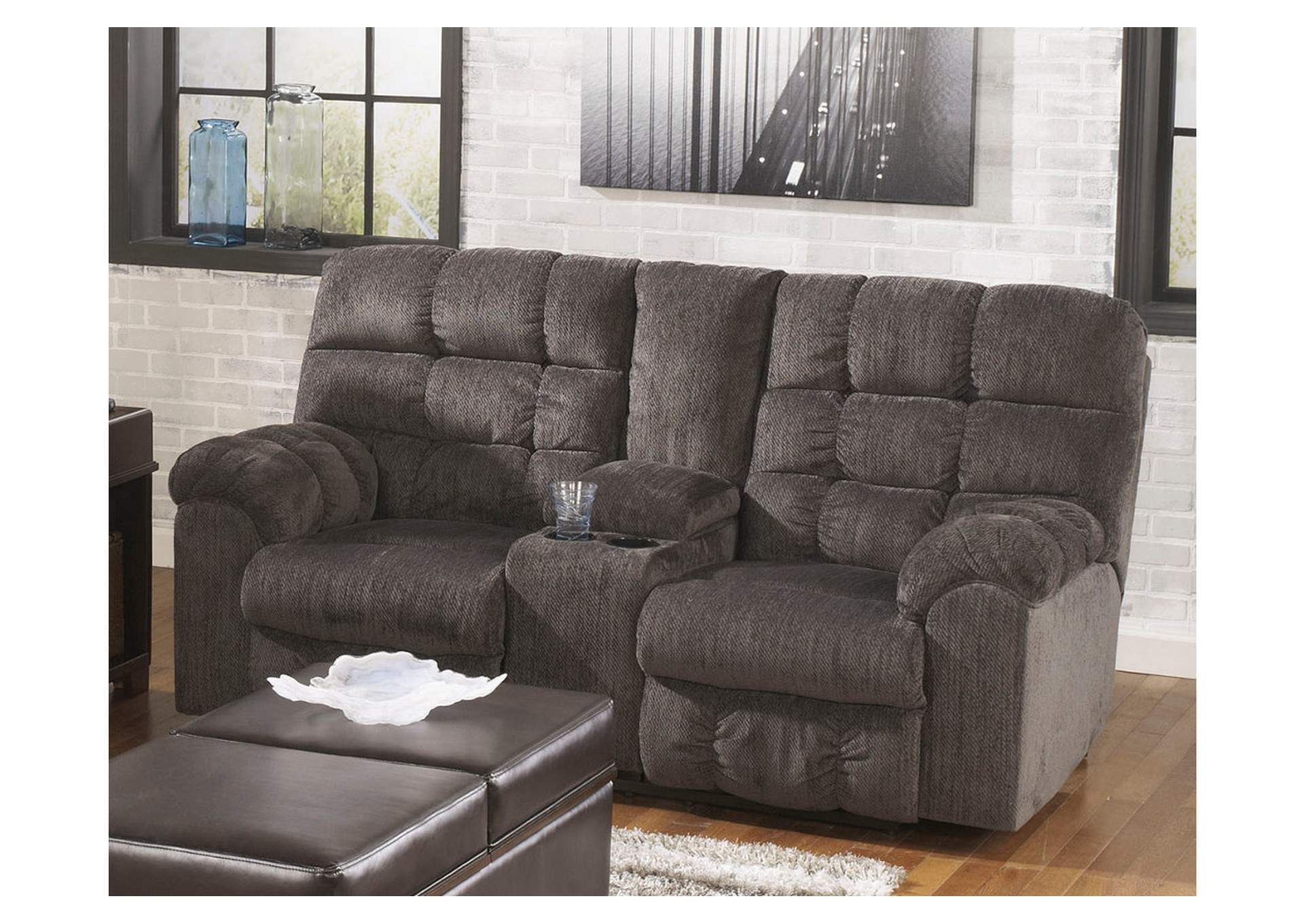 Picture of: Acieona Slate Double Reclining Loveseat W Console Majek Furniture