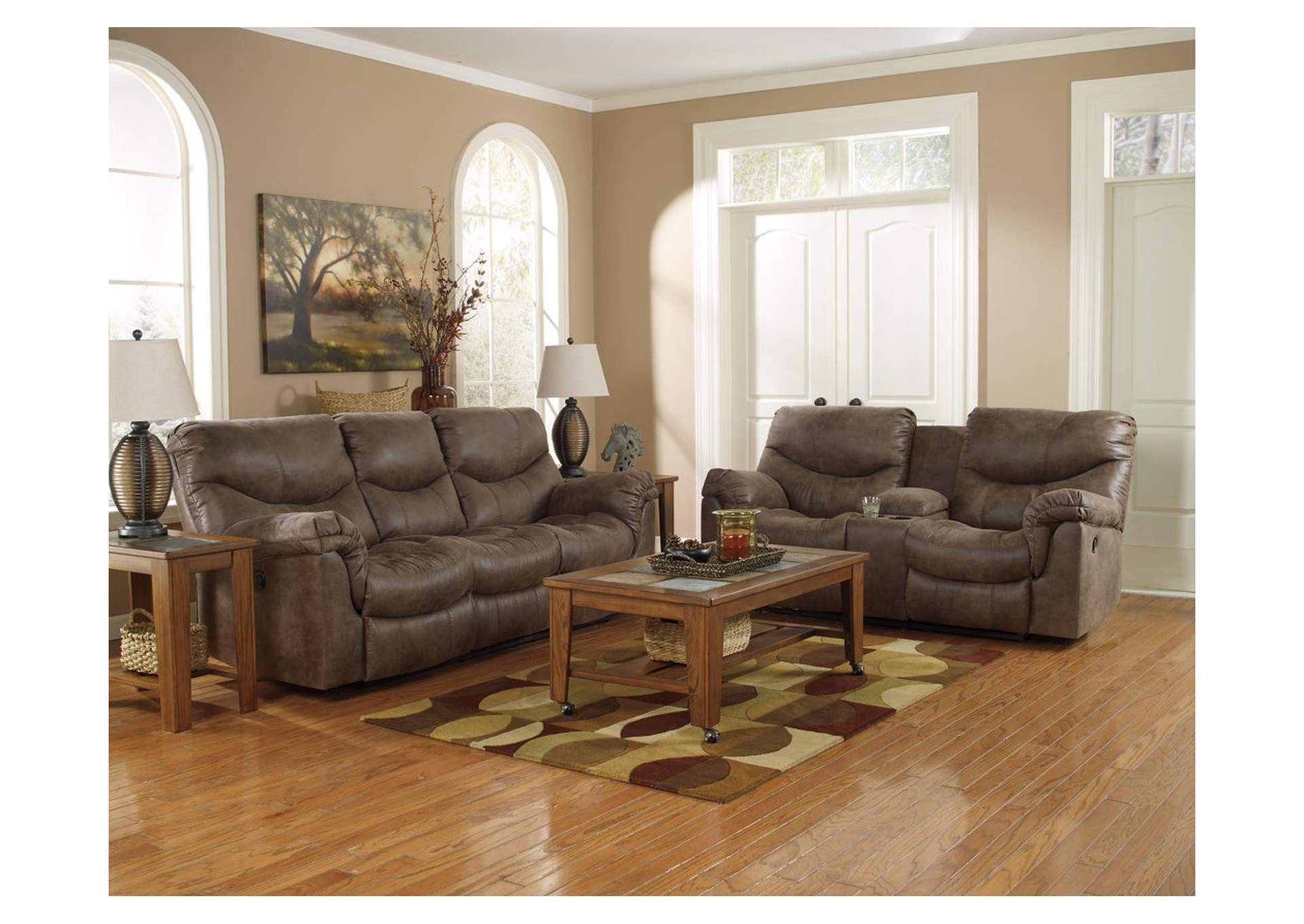 Alzena Gunsmoke Double Reclining Loveseat w/ Console,Signature Design By Ashley