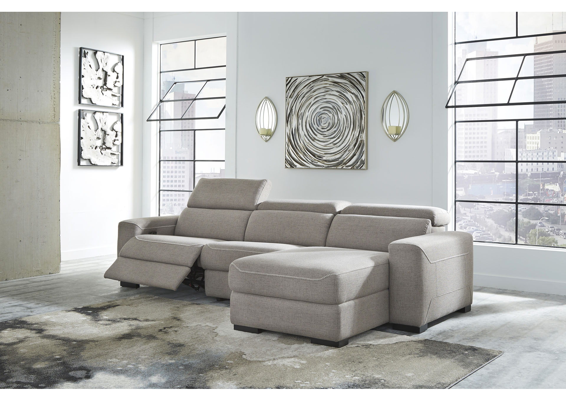 Mabton Gray Right-Arm Facing Power Reclining 3 Piece Sectional Chaise,Signature Design By Ashley